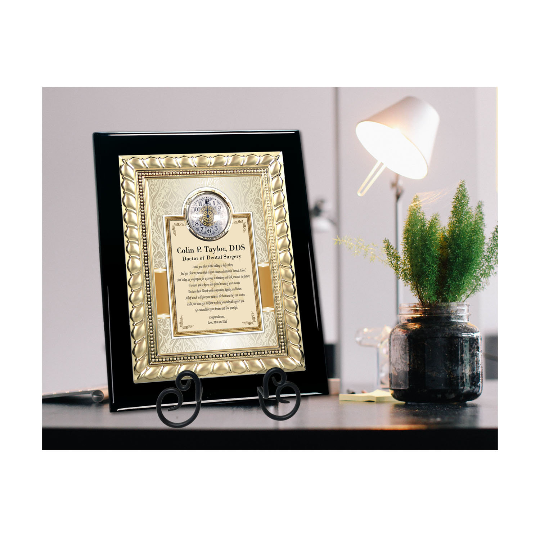 Desk Wall Plaque Engrave Clock Gold Metal Dentistry Graduation Gifts DDS DMD