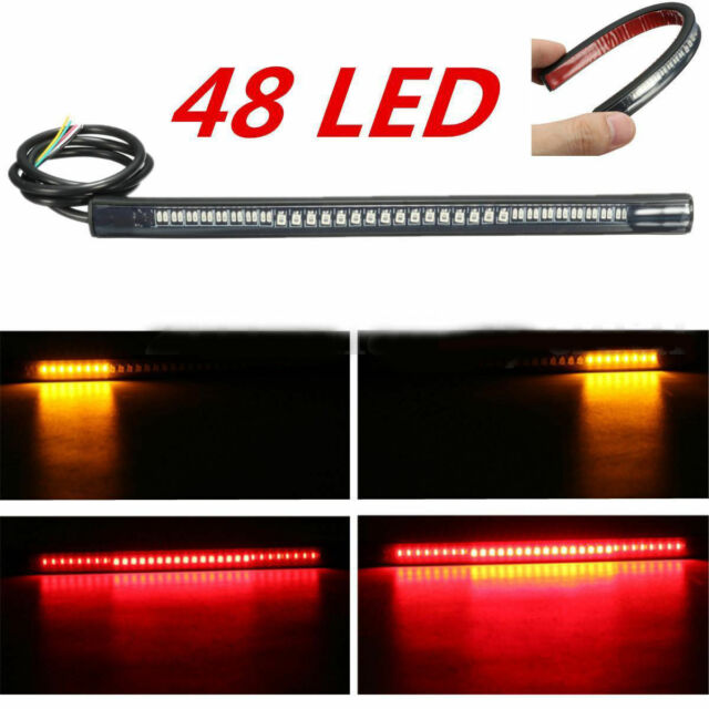 Flexible 48LED Motorcycle Light Strip Rear Tail Brake Stop Turn Signal Lamp Bar