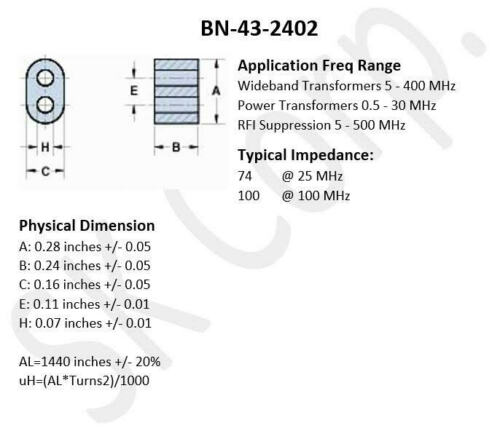 Pack of 10 Details about  /BN-43-2402 BN43-2402 Multi Aperture Balun Core