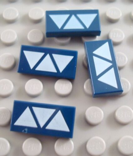 LEGO Lot of 4 Dark Blue 1x2 Star Wars Decorated Flat Tile Pieces