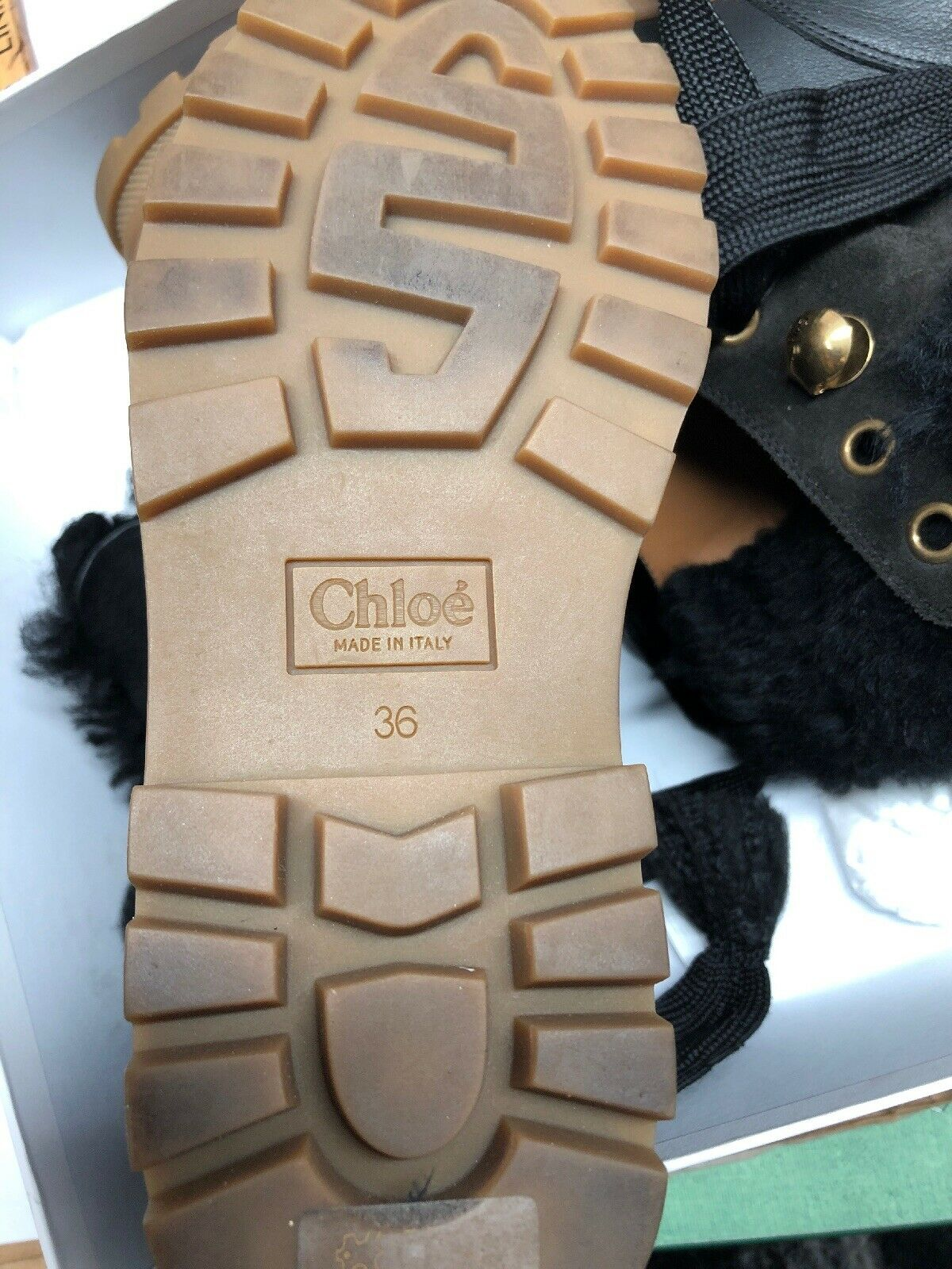Chloé Charcoal Black Ankle Ankle Ankle Boots Lace Lamb Sheepskin Fur Leather Sz.6 744442