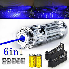 405nm 1000 Miles Blue Laser Pointer Pen Visible Beam Lightchargerbatterycaps