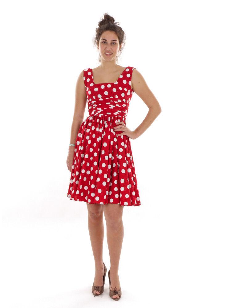 Richard Kravetz Summer Strap Dress Red Dots A-Line