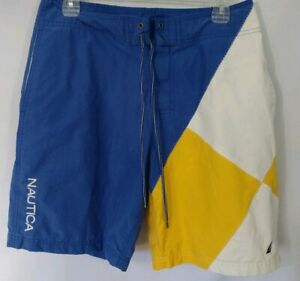 551a5cfe92f09 Details about Vintage Nautica Board Shorts Swim Trunks Colorblock Blue  White Yellow Size 30W