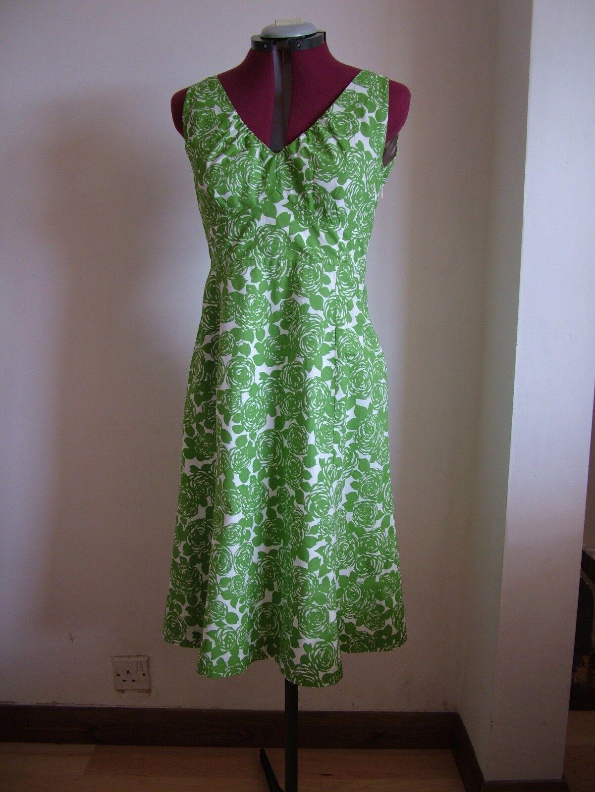 BODEN Vintage Rosa Riviera Dress UK Größe 8 10 Long APPLE Grün Retro 8L RARE