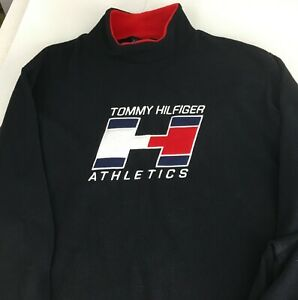 Tommy-Hilfiger-Athletics-Sweatshirt-Mens-Large-Fleece-Long-Sleeve-Spellout-Black