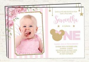 Image is loading Pink-and-Gold-Minnie-Mouse-1st-Birthday-Invitation-