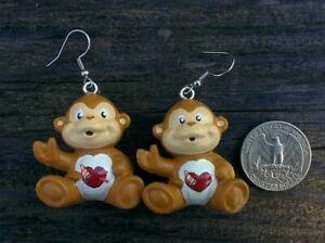 "CUSTOM MADE 1.5"" Dangle Drop Earring CARE BEAR COUSIN Pair Playful Monkey (2)"