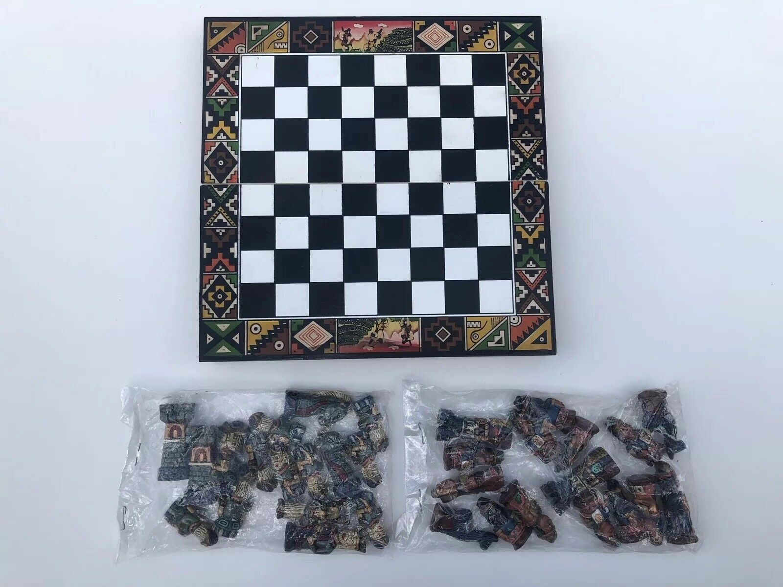 Native American Indian Colonial American  European Themed Chess Set Complete New