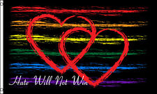 Hate Will Not Win Flag 3x5 ft LGBT Gay Pride Hearts Rainbow Orlando Memorial