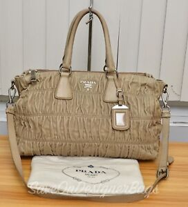 Prada-Nappa-Gaufre-Beige-2Way-Tote-Bag-Used-Authentic-w-Dustbag