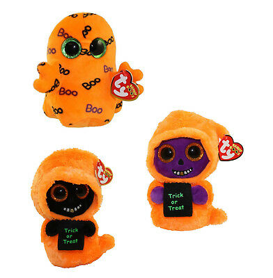 "TY Halloween Beanie Boos 6/"" SKELTON the Orange Ghoul Plush MWMTs Heart Tags"