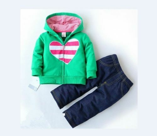 100% cotton baby girls clothes tops+pants outfits set girls hoodie & pants heart