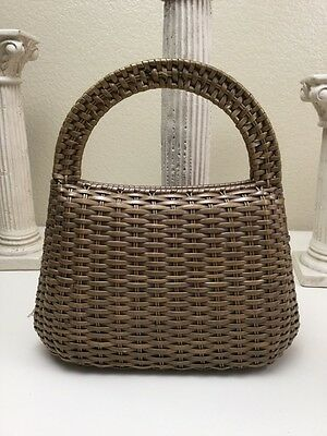 Vintage Basket Weave Plastic Wicker Purse Hand Woven Made Hong Kong Snap Closure