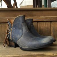 Corral Women's Circle Blue Short Fringe Round Toe Western Boots Q0006
