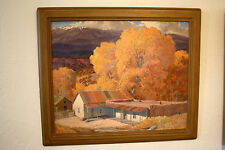 VINTAGE NEW MEXICO TAOS WPA SIGNED CARL VON HASSLER PAINTING OIL ON BOARD 1941