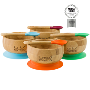 Baby Bamboo Suction Bowl and Matching Spoon Set, Suction Stay Put Feeding Bowl