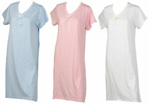 Image is loading Cotton-Nightdress-Dobby-Dot-Short-Sleeve-Nightgown-Womens- 66895a47b