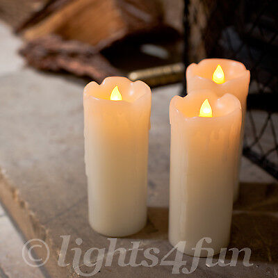 Set Of 3 Battery Operated Dripping Wax Flickering LED Flameless Candles 12.5cm