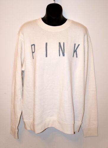 NWT VICTORIA/'S SECRET PINK Logo Crew Sweatshirt Off White Women/'s Long Sleeve M