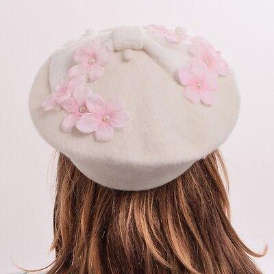 Floral Pearls Hat Girls Lolita Wool Blend Beret Cap