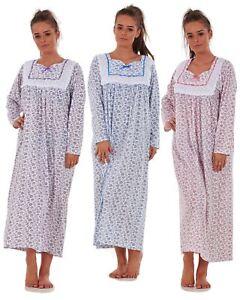 Ladies Nightwear Check Print 100/% Cotton Short Sleeve Long Nightdress