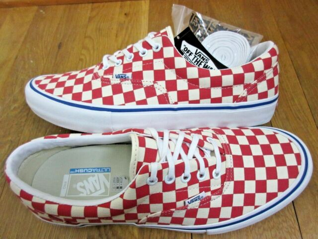 52f695a71d Vans Mens Era Pro Checkerboard Rococco Red White Canvas Skate shoes size 12  NWT