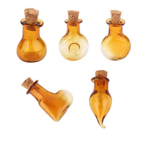 10Pcs Small Mini Round Flat Shape Cork Glass Bottles Vials Jars DIY Pendant