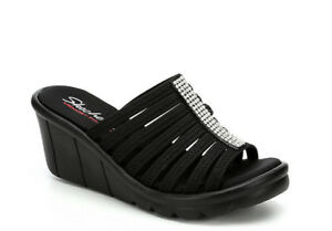 Skechers-Women-039-s-Rumblers-Hot-Shot-Black-Wedge-Sandals-Size-7-9-10-NWB