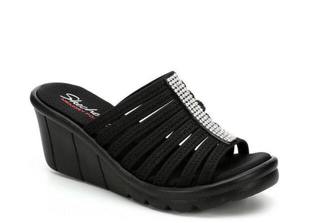357f64998e79 Skechers Women s Rumblers Hot Shot Black Wedge Sandals - Sizes 7 8 9 ...