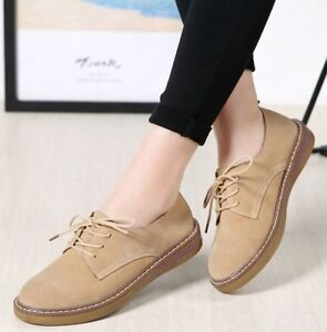 Women-039-s-Suede-Oxfords-Round-Toe-Lace-Up-Warm-Lined-Casual-Flat-Shoes-Creepers