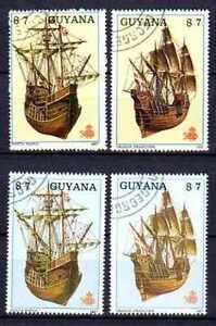 Bateaux-Guyane-34-serie-complete-de-4-timbres-obliteres