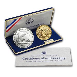 1987-2-Coin-Commem-Constitution-Set-BU-w-Box-amp-COA-SKU-7123