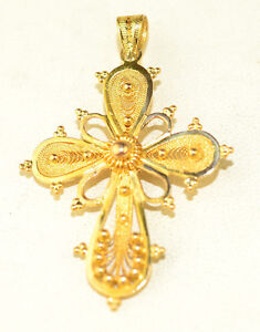 Rare vintage 22k yellow gold ornate filigree cross pendant same on image is loading rare vintage 22k yellow gold ornate filigree cross aloadofball Image collections