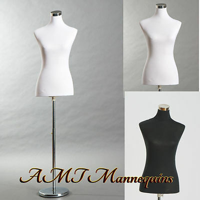 "34""26""35"" Female mannequin dressform,2covers+metal stand,black/white torso PB-88"