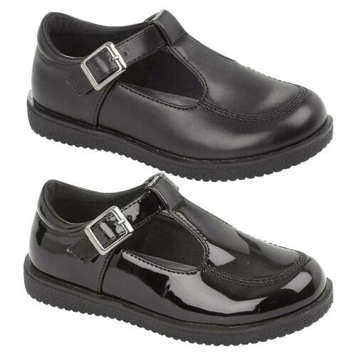 Filles T-Bar Kids Baby Infants Flat Noir École Chaussures Taille UK 6 7 8 9 10 11 12
