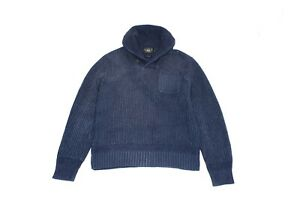 Ralph-Lauren-RRL-Shawl-Collar-Heavy-Knit-Cotton-Fisherman-Sweater-Blue-Sz-M