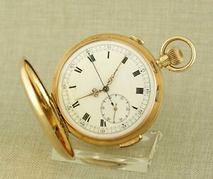 Museum-GOLD-Repetition-Chronograph-Taschenuhr-Uhr-repeater-watch-Schlagwerk