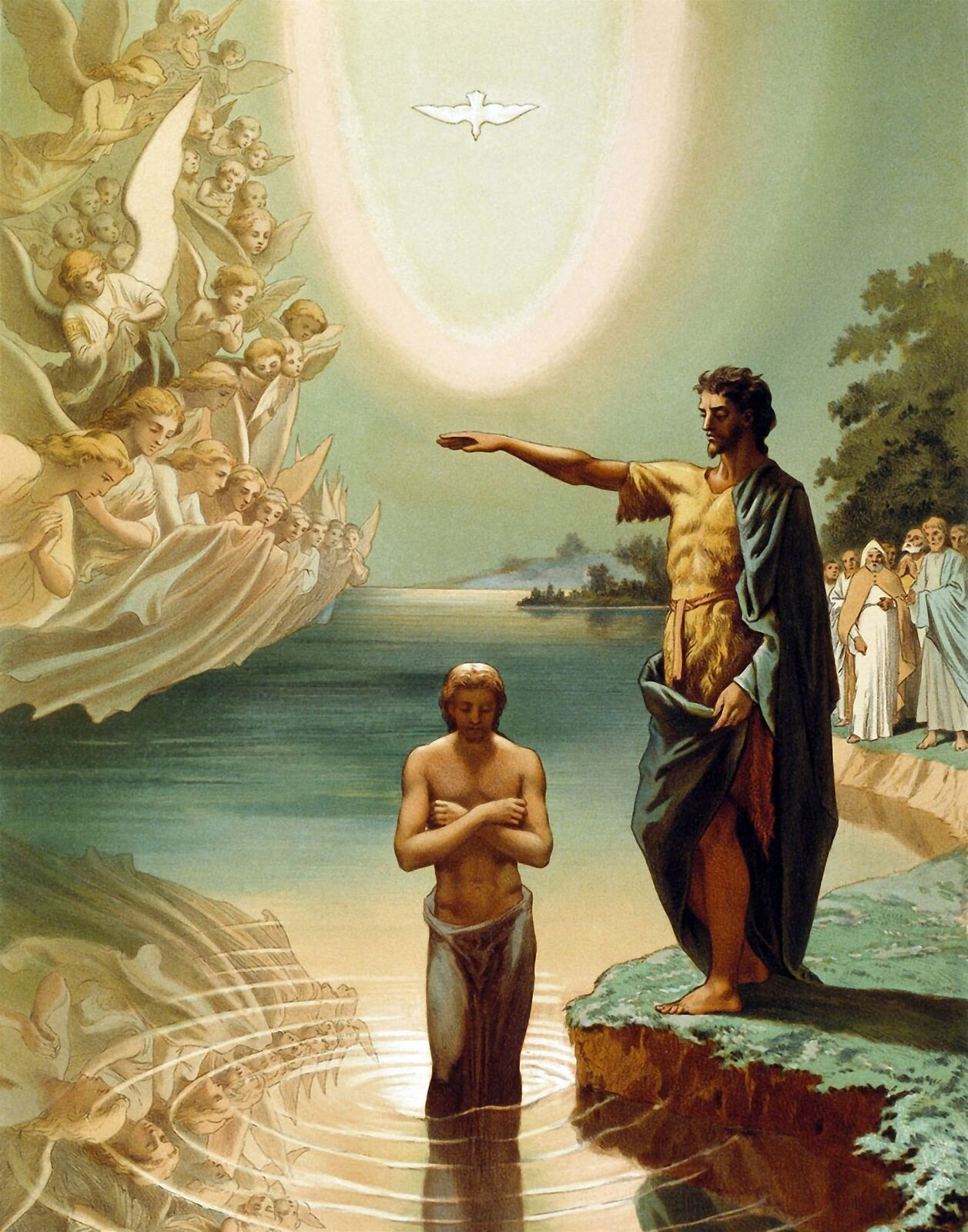 Baptism of Christ by Russian Grigory Gagarin. Fine Art Repro on Canvas or Paper