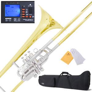 New-Mendini-034-Super-Bone-034-Valve-Slide-B-Flat-Trombone-w-Monel-Piston-39Tuner
