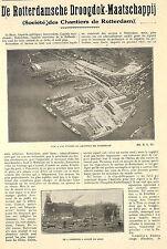 ROTTERDAM STE DES CHANTIERS DROOGDOK- MAATSCHAPPIJ ARTICLE PRESSE 1932