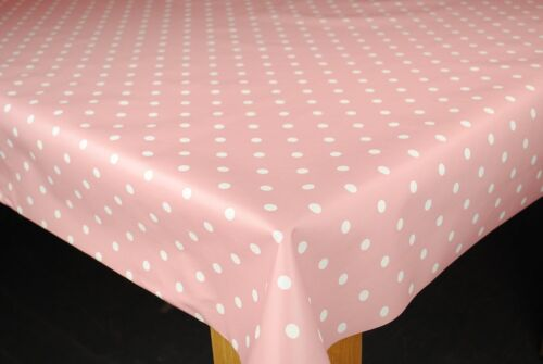 """BABY PINK /& WHITE SPOTTY PVC  VINYL 6 SEATER TABLECLOTH  54/"""" WIDE  2M £9.99EACH"""