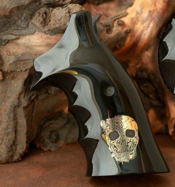 Marco L & Wesson Roundbutt Smith apretones negro PMMA acrílico y logotipo personalizado de latón