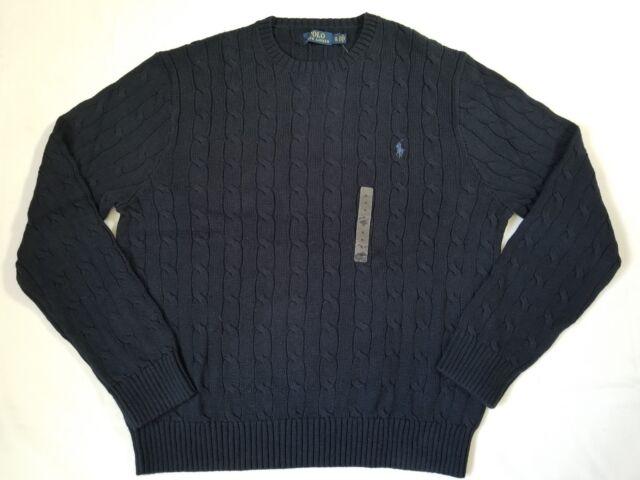 12110dfe5cc51c Polo Ralph Lauren Men's Crew Neck Cable Knit Navy Blue Cotton ...