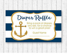 Nautical Gold Anchor Baby Shower Diaper Raffle Tickets Printable