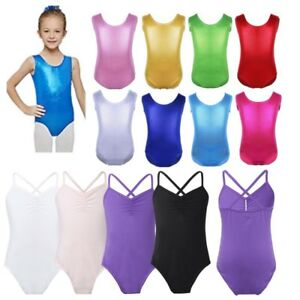 28e4acdbd52c Girls Kids Shiny Ballet Dance Gymnastics Leotard Sleeveless Jumpsuit ...