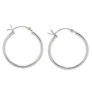 25mm sterling silver hoop earrings Narrow handmade shiny silver hoops
