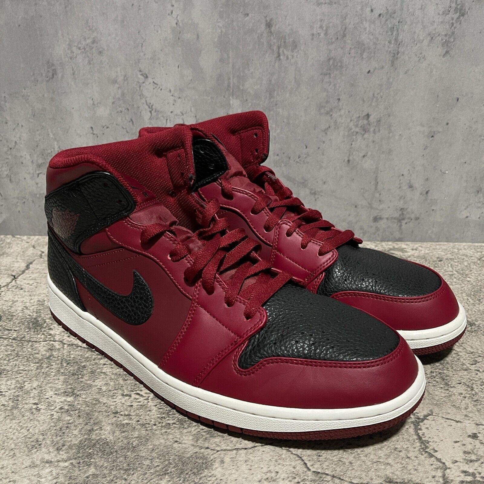 Nike Air Jordan 1 Retro Mid Team Red Black Men's Size 12 [554724-601]