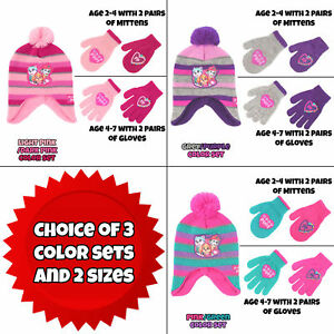 Nickelodeon-Little-Girls-Paw-Patrol-Hat-amp-2-Pair-Mittens-Gloves-Cold-Weather-Set