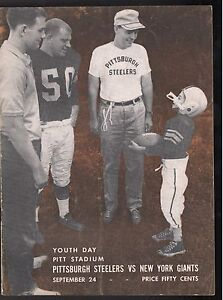 9/24 1961 PITTSBURGH STEELERS NEW YORK GIANTS OFFICIAL GAME PROGRAM EX/NM